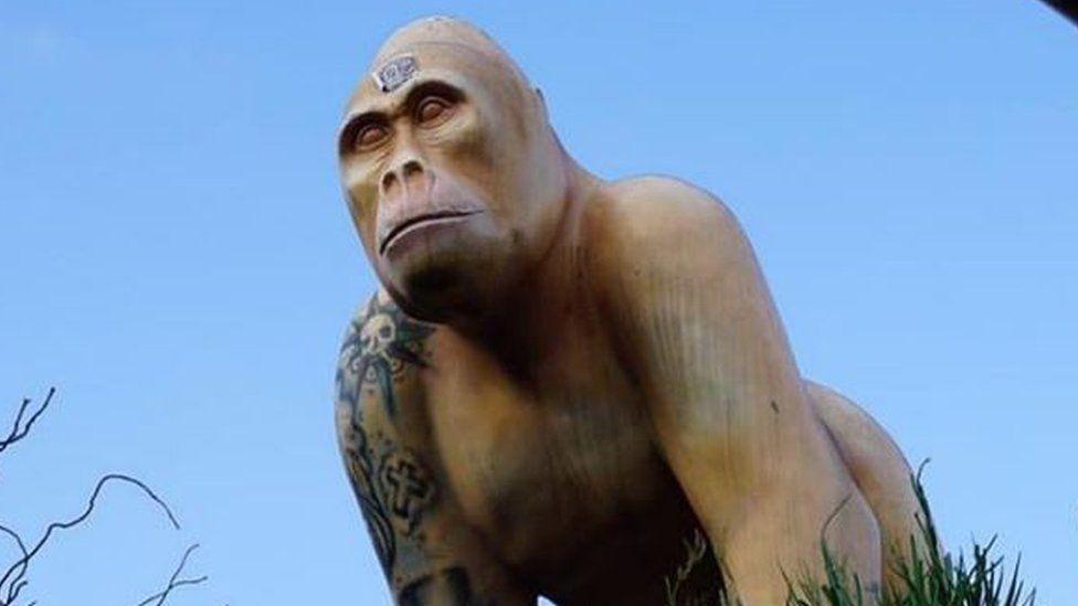 The stolen gorilla statue
