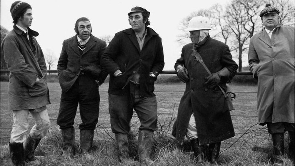 Hunt followers in Westcott Riddlecombe in 1975
