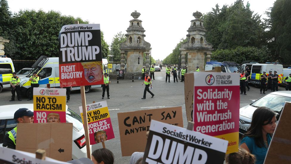 Protests outside Blenheim Palace