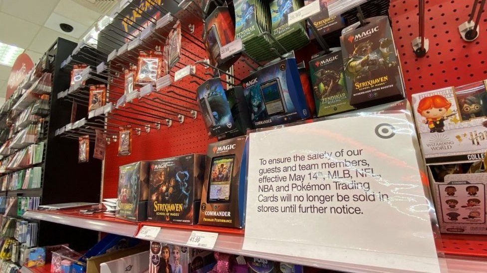 A Target shelf with Pokemon cards
