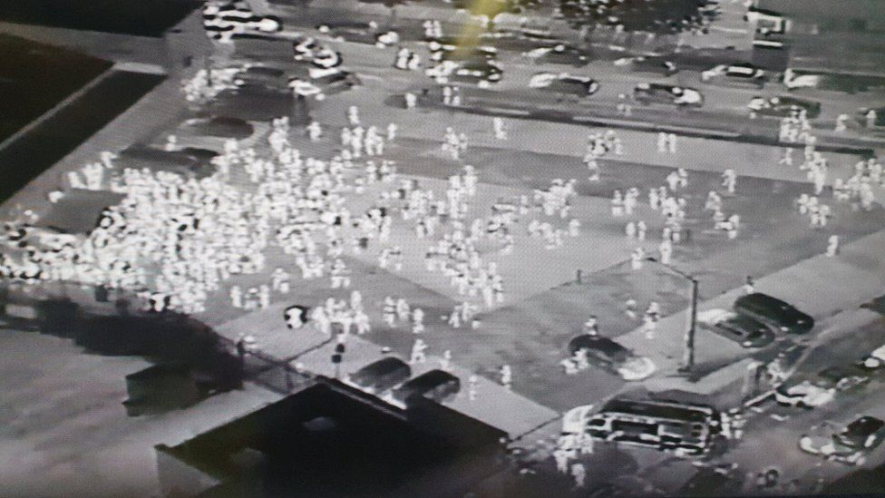 Drone footage of revellers