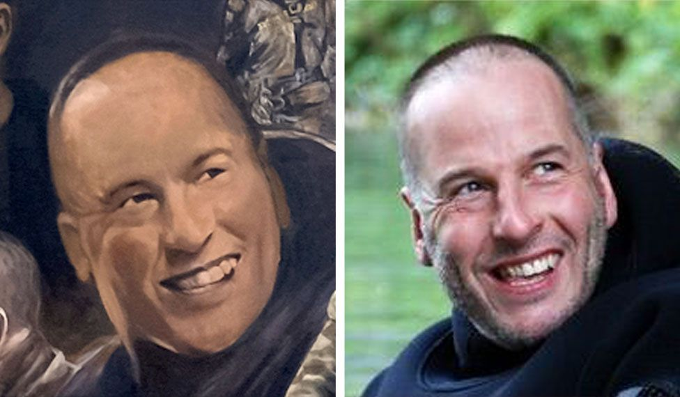 A mural image of Rick Stanton on the left side and a photo of Rick Stanton on the right side