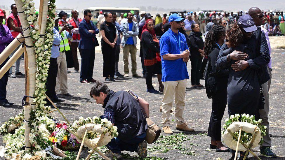 Families at the Ethiopian Airlines crash site