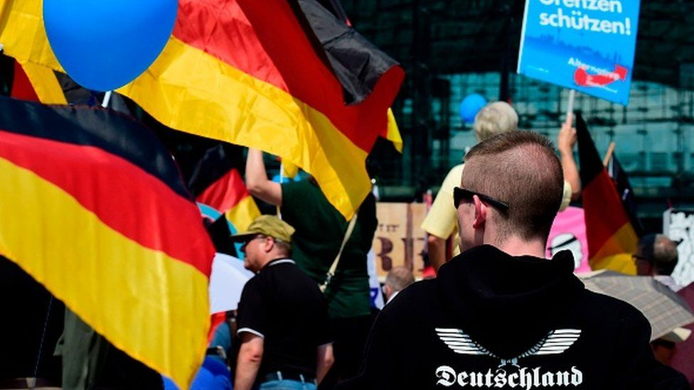 Demonstrators holding AfD and German flags gather at a protest in Berlin in 2018