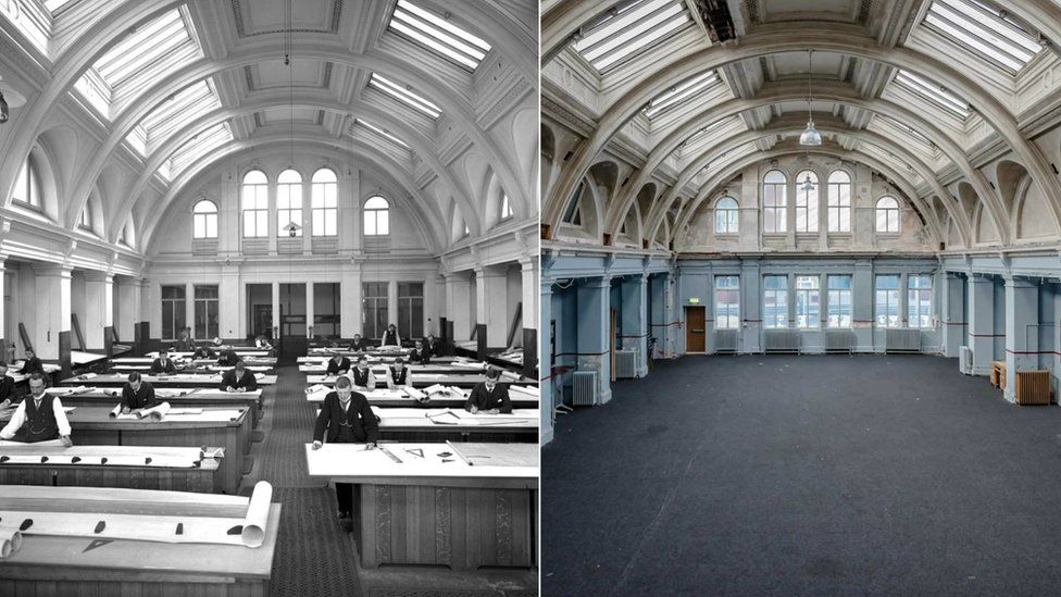 Before and after shot of the drawing offices, with the left showing the office filled with people in black and white and the other the restored drawing room.