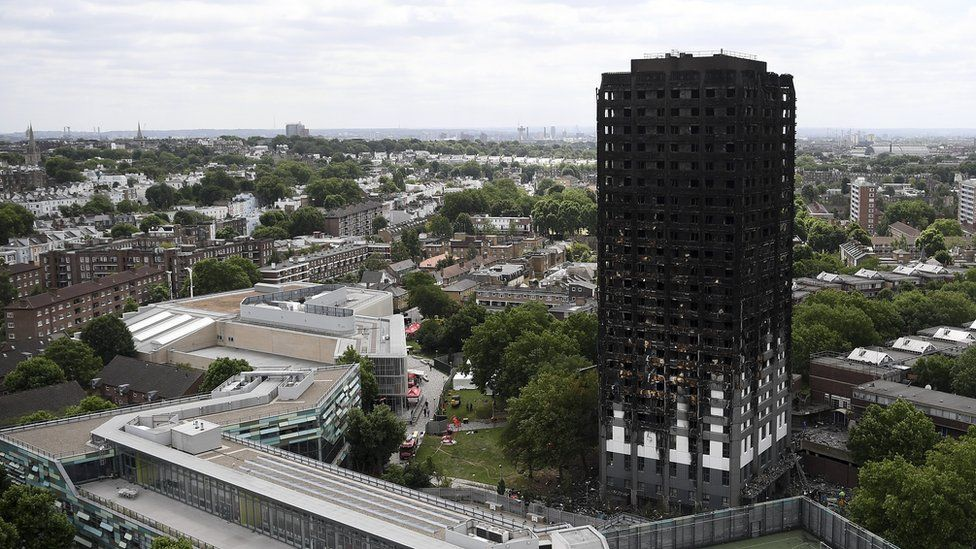 The Grenfell Tower block after the fire