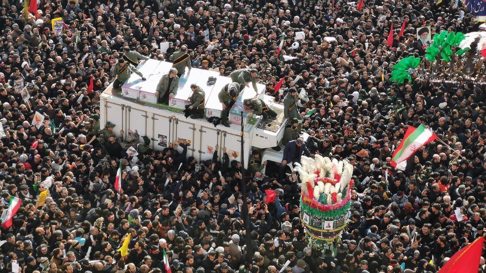 Mourners gather to pay homage to top Iranian military commander Qasem Soleimani