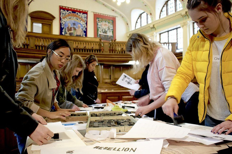 Durham Sixth Form students working on an arts project in The Pitman's Parliament