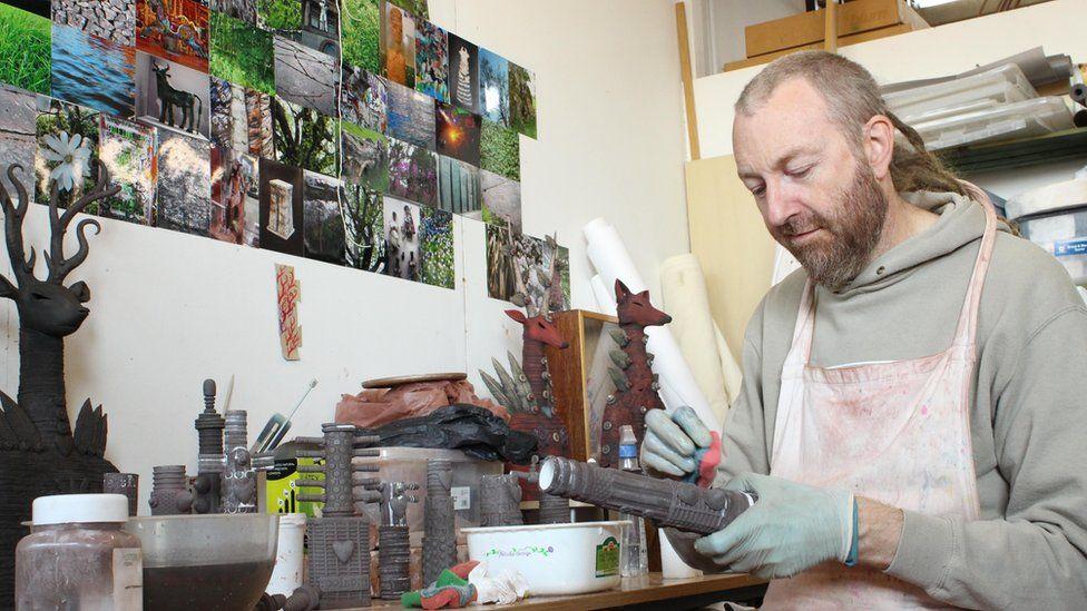 Artist Drew Caines creating work at Patrick Studios
