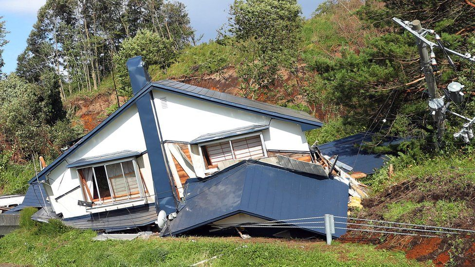 Damaged house in Atsuma town