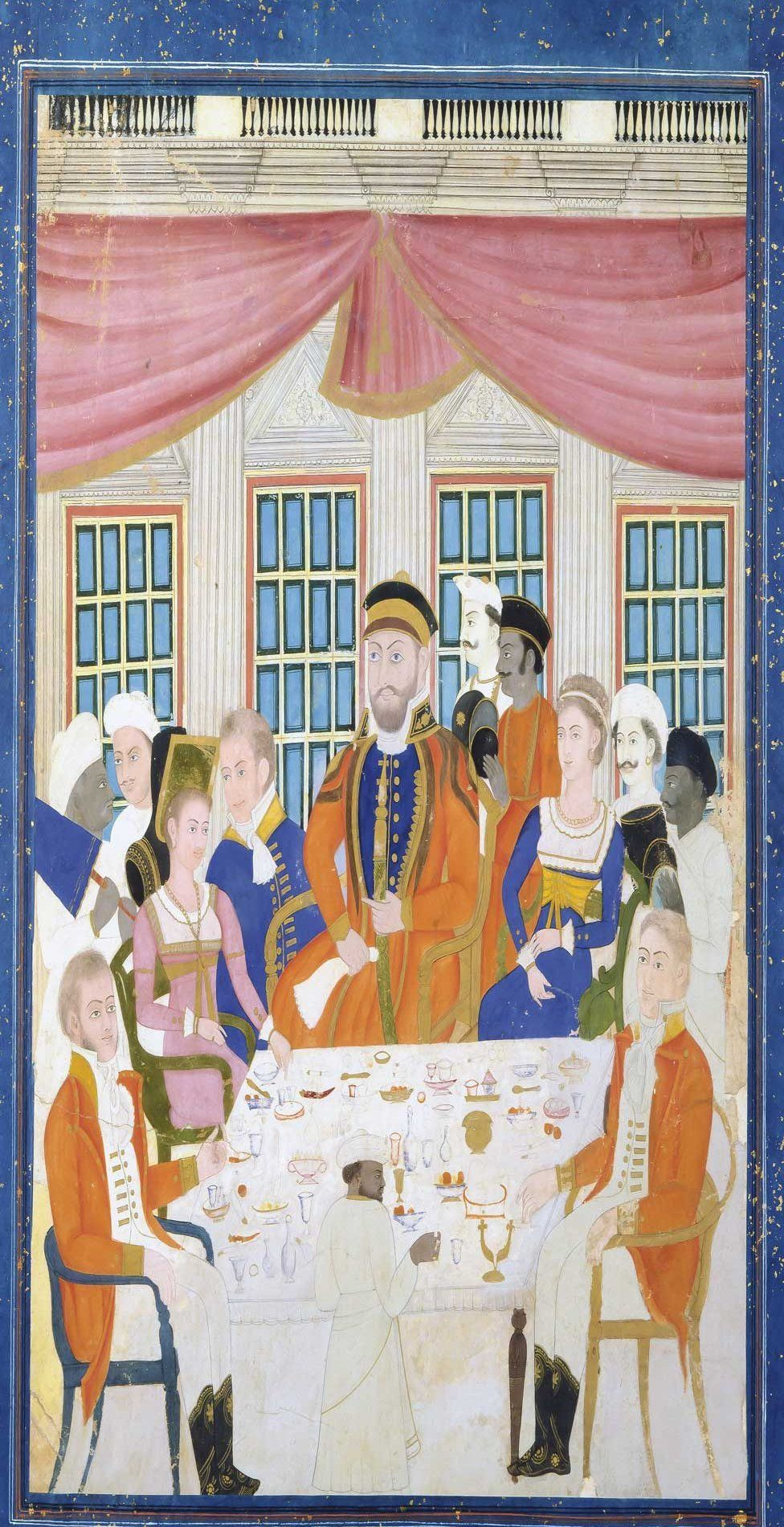 A finely painted miniature depicting four British officers with their wives taking refreshments at a table