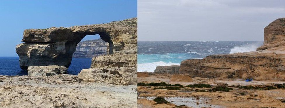 Composite picture shows before and after of Malta's Azure Windown