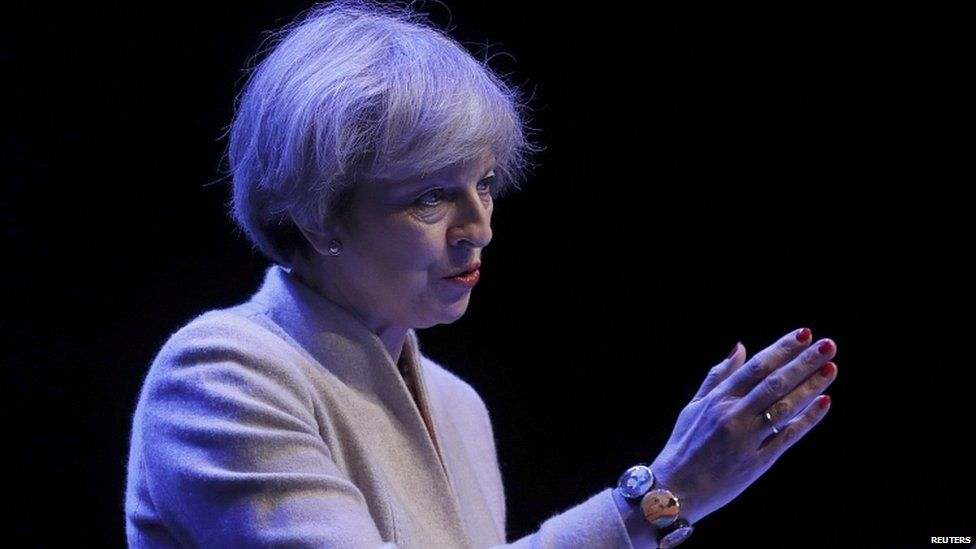 Theresa May speaking at the Scottish Conservative conference