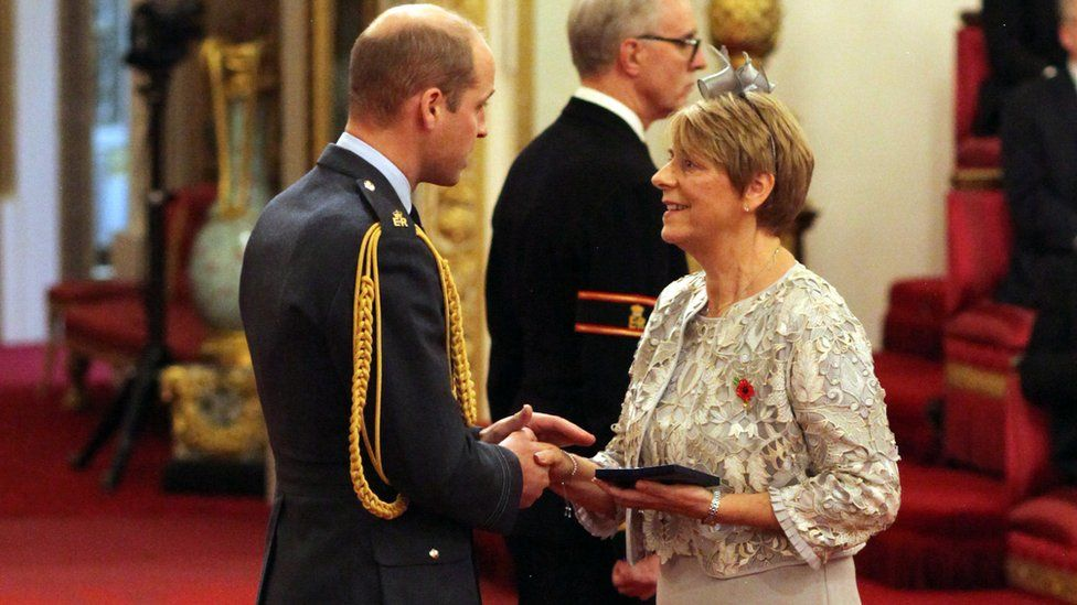 Sandra Jackson received the honour on behalf of her son from the Duke of Cambridge at Buckingham Palace.