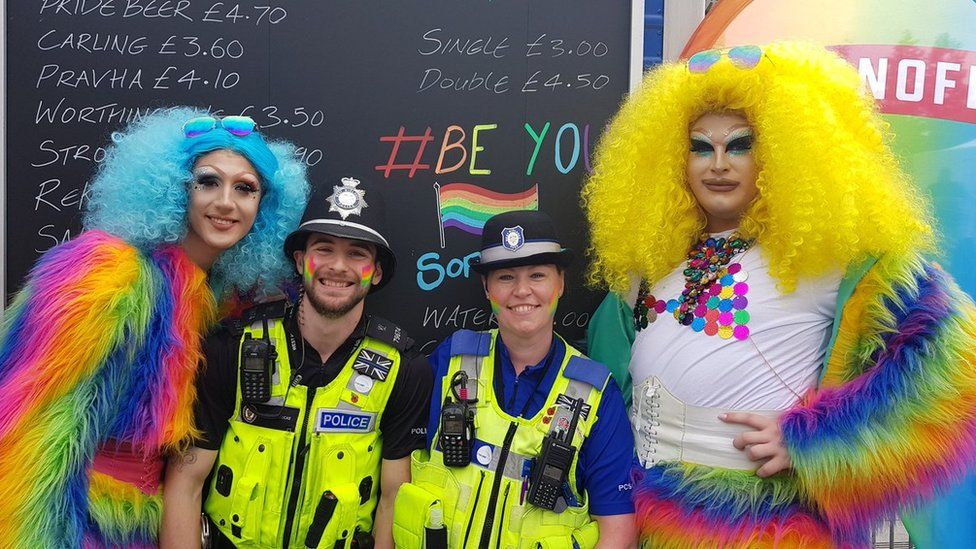 Police officers were among the revellers to get into the festival spirit