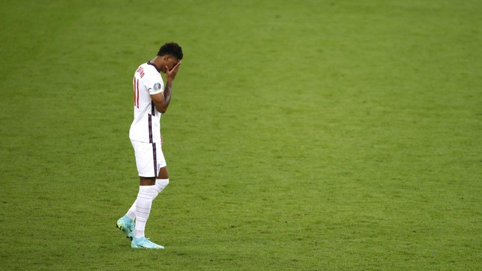 England's Marcus Rashford looks dejected after missing a penalty
