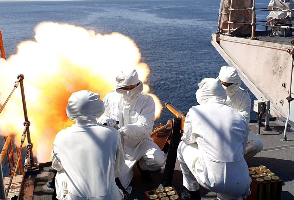 HMS Montrose firing her Salting Gun in Duqm, Oman, as part of a 41 Gun salute to mark the passing of His Royal Highness Prince Phillip