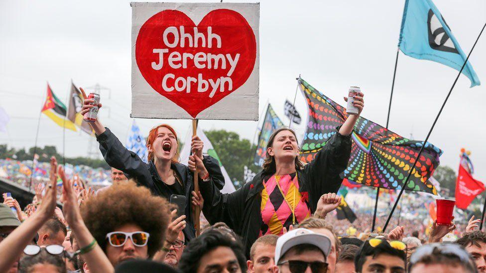 Women in the Glastonbury crowd hold a Jeremy Corbyn placard