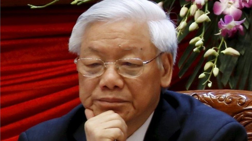 """Vietnam""""s Communist Party General Secretary Nguyen Phu Trong sits after voting for the new Central Committee during the 12th National Congress of the ruling Vietnam Communist Party in Hanoi, Vietnam, January 26, 2016."""