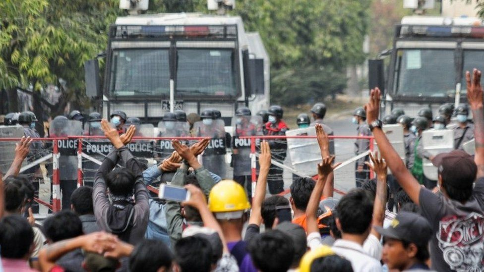 Image result for Myanmar coup: At least two killed as police disperse protesters