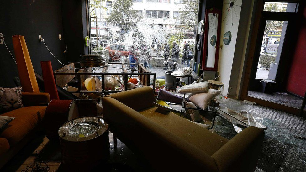 sofas and other furniture strewn across a business