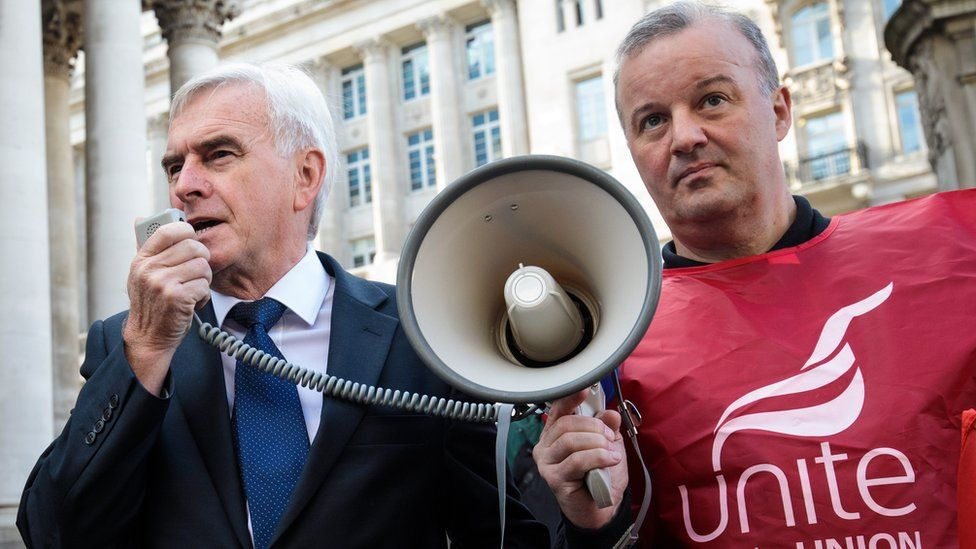 Shadow Chancellor John McDonnell (L) makes a speech using a mega phone as members of the Unite Union demonstrate outside the Bank of England on August 1, 2017 in London, England.