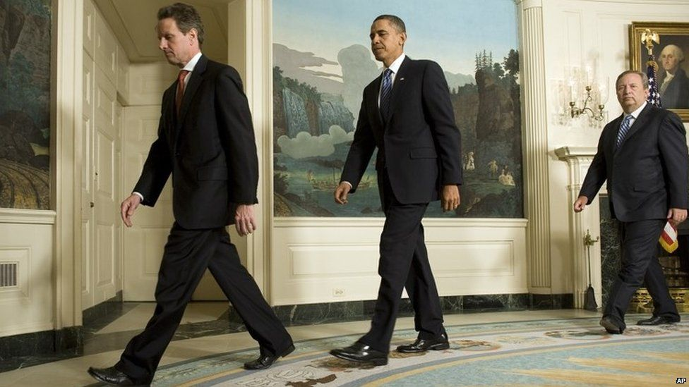 Timothy Geithner (left) and Larry Summers (right) are among the seven signatories of the letter