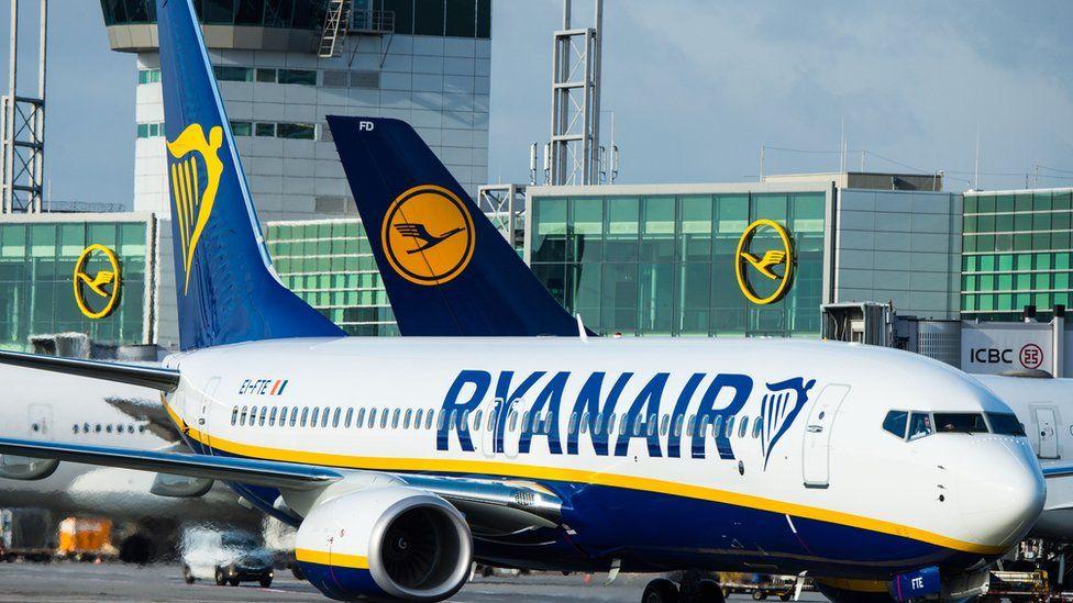 Ryanair plane on ground in Frankfurt
