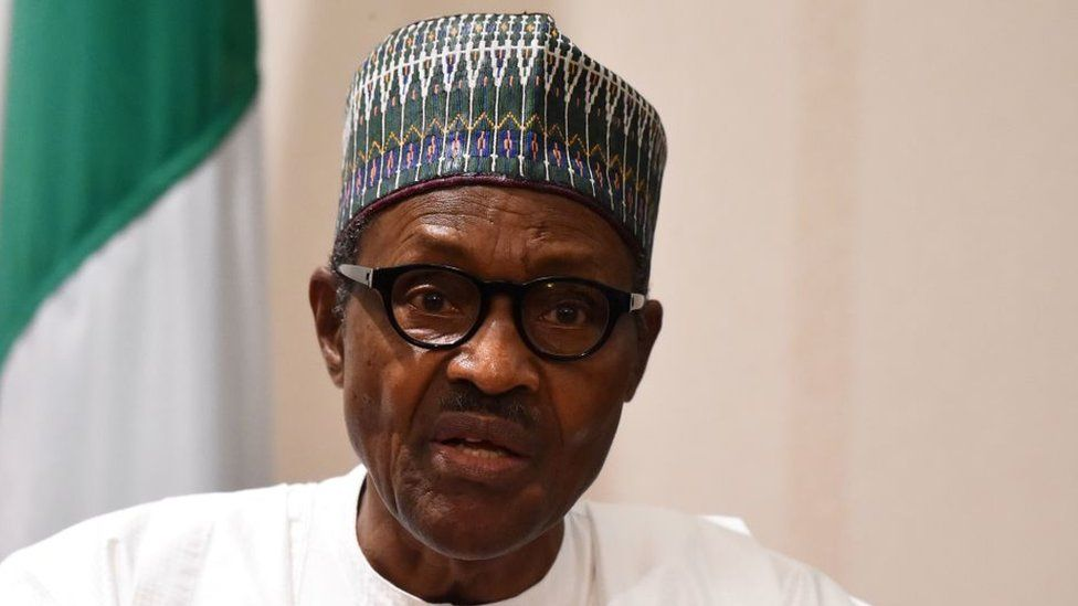 Nigerian President Muhammadu Buhari speaks during a joint press conference in Abuja, on August 31, 2018.