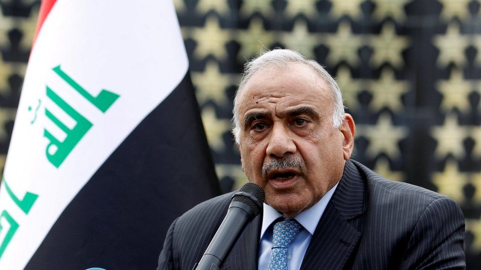 Iraqi Prime Minister Adel Abdul Mahdi speaks in Baghdad, Iraq, on 23 October, 2019.