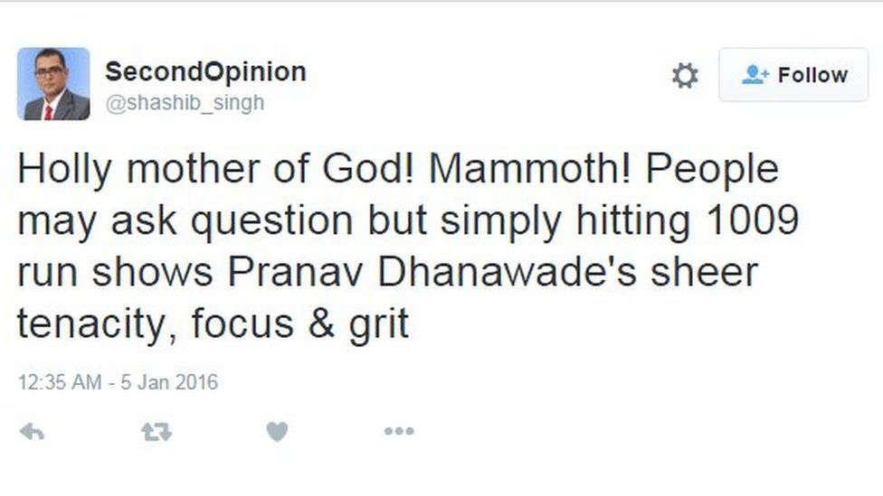 Shashib Singh: Holly mother of God! Mammoth! People may ask question but simply hitting 1009 run shows Pranav Dhanawade's sheer tenacity, focus & grit