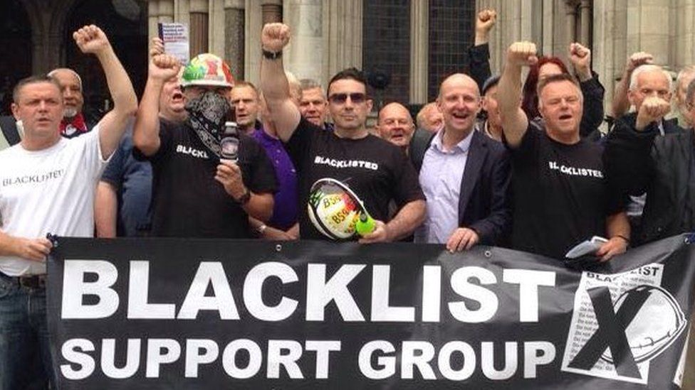 The Blacklist Support Group outside the High Court