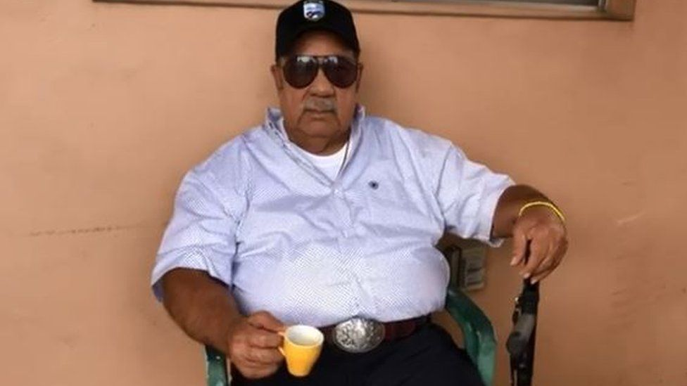 Wearing a Bay of Pigs veteran hat, he drinks a Cuban coffee for the first time in 39 years