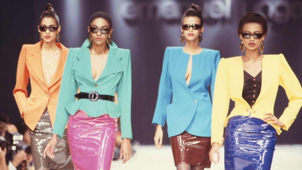 Models walk the runway in colourful suits at the Ungaro Ready to Wear Spring/Summer 1989