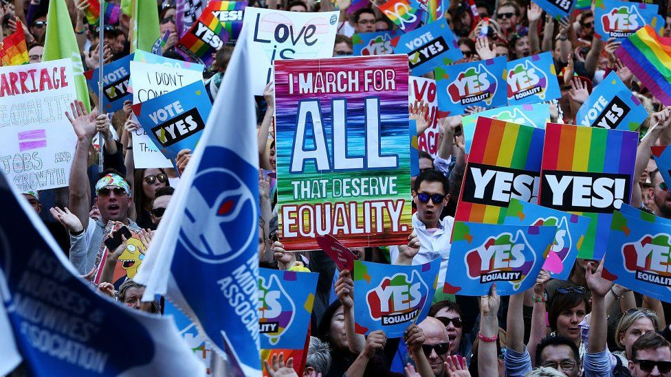Thousands gather to rally for marriage equality ahead of a national postal survey