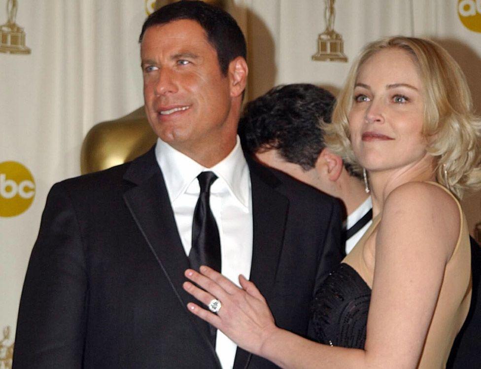 John Travolta and Sharon Stone at the 2002 Oscars