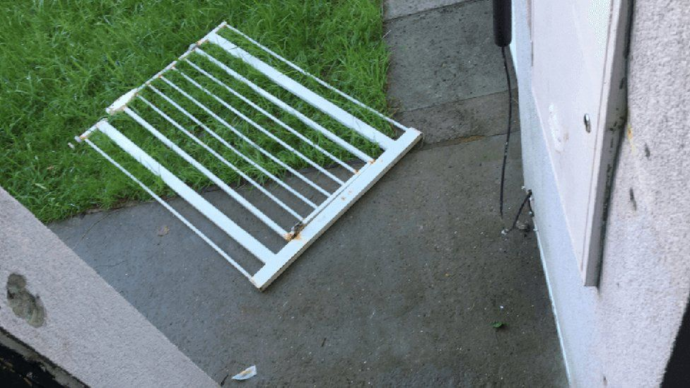 Safety gate in front of Cheryl Matthew's home