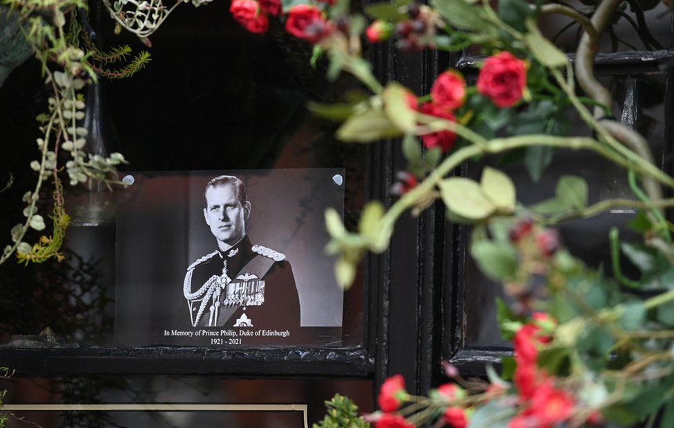 A picture of Britain's Prince Philip, Duke of Edinburgh is placed in a window of a pub near Windsor Castle, Windsor, United Kingdom