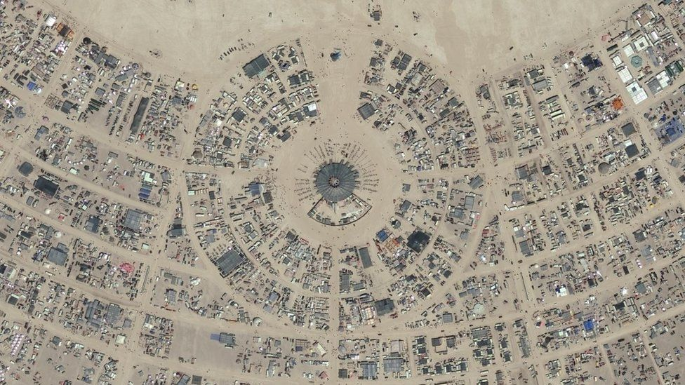 Arial photograph of a section of Burning Man in 2017
