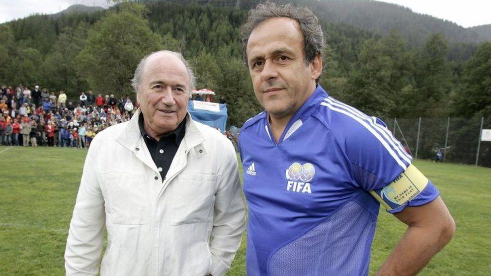 Sepp Blatter (left) Michel Platini |(27 August 2005)