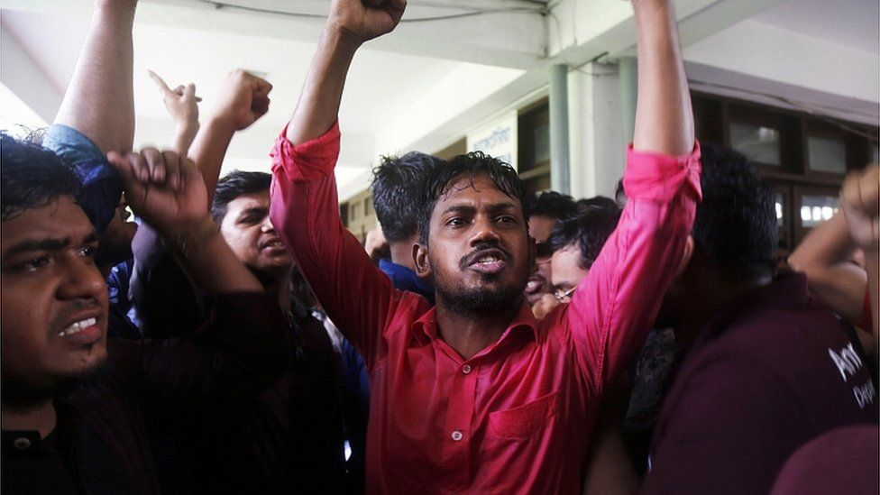 University students take part in a protest after a fellow student was found dead, at Dhaka University campus, Bangladesh, 7 October 2019