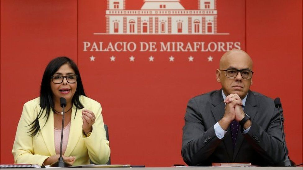 Venezuela's Vice-President Delcy Rodriguez and Communications and Information Minister Jorge Rodriguez