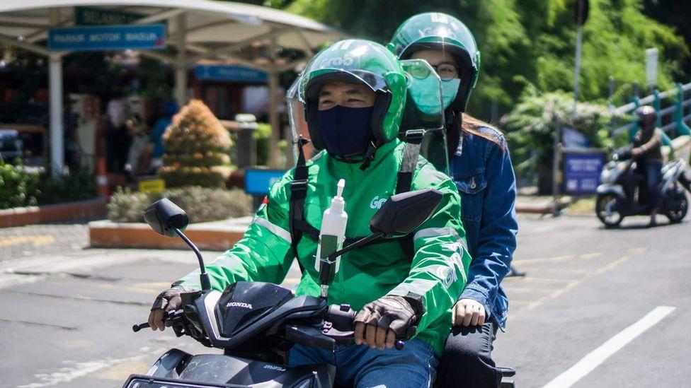 Grab bike and passenger