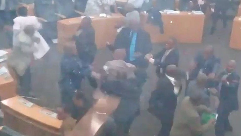 MPs fighting in parliament