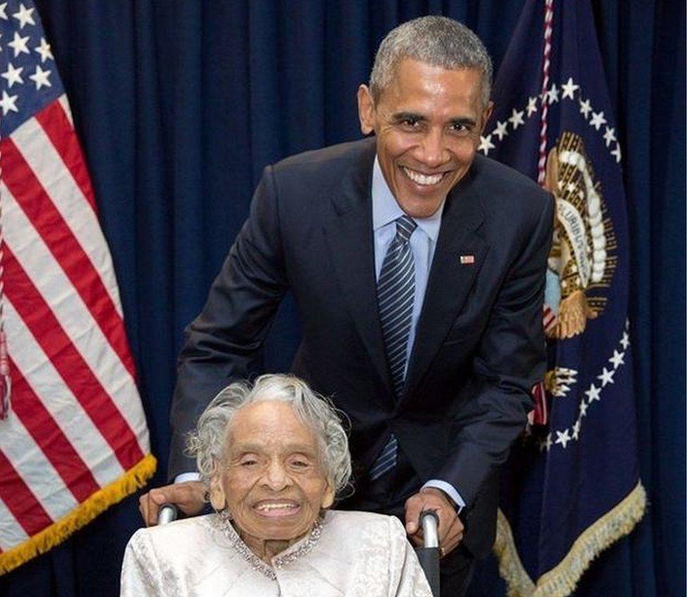 President Barack Obama with Olivia Hooker