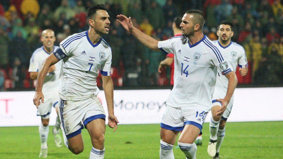 The Israeli football team playing against Albania