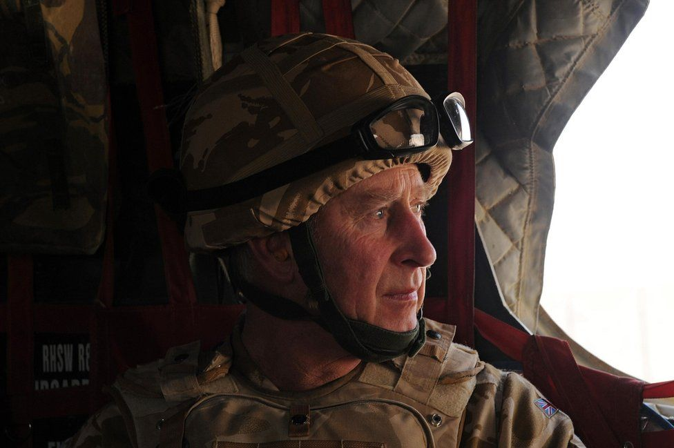 Prince of Wales in a British military helicopter over Afghanistan