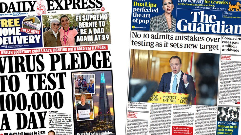 Daily Express and Guardian front pages