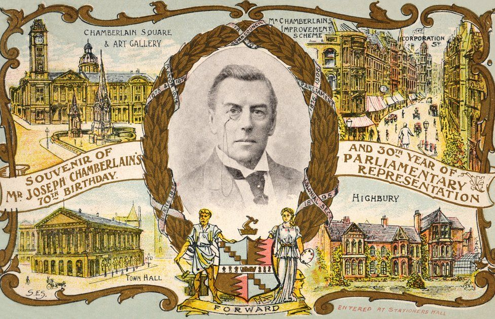 A vintage colour postcard in celebration of the 70th birthday of Joseph Chamberlain