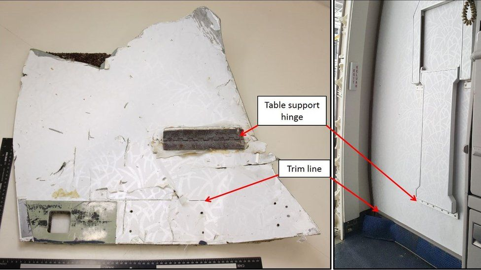 Comparison of item recovered in Mauritius with MAB Boeing 777 Door R1 panel assembly